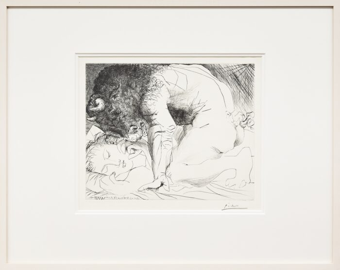 Pablo Picasso 66. Minotaure caressant une dormeuse [Minotaur Caressing a Sleeping Woman], 18.6.1933 and end of 1934