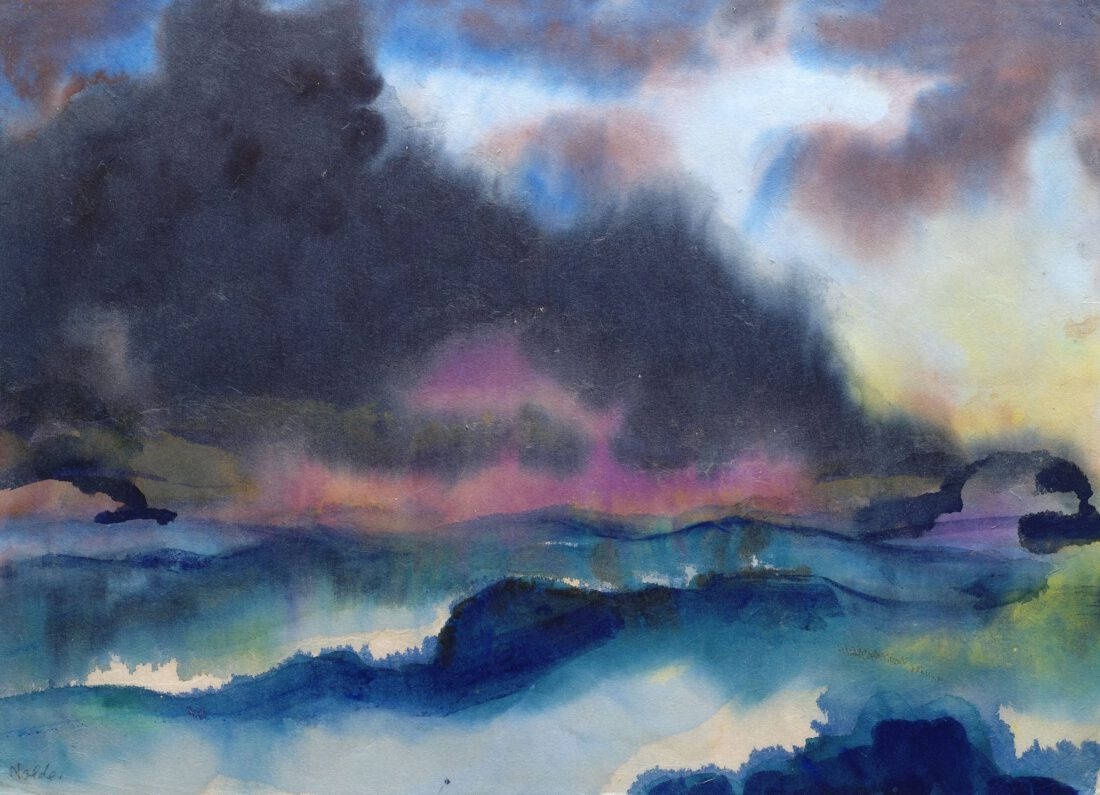 Emil Nolde, Rough Sea with Two Steamboats [Bewegte See mit zwei Dampfern], ca. 1945